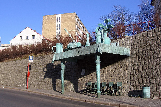 Bronze Bus stop by Vlasta Juricek