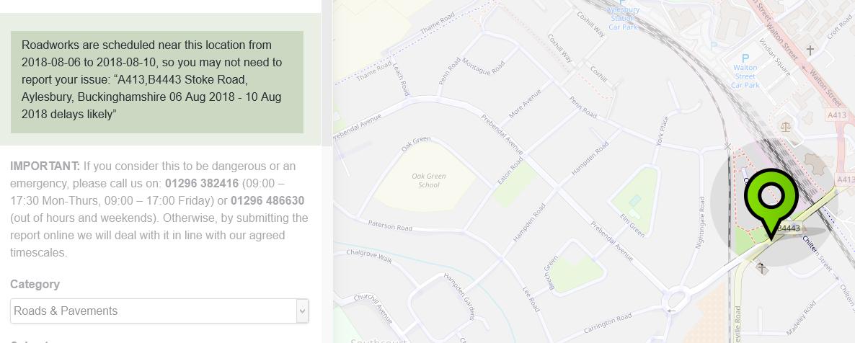 Buckinghamshire FixMyStreet roadworks alert