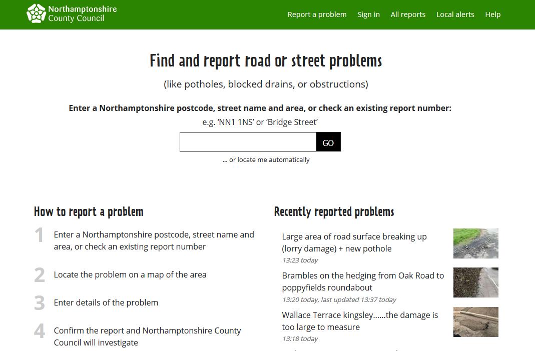 FixMyStreet for Northamptonshire
