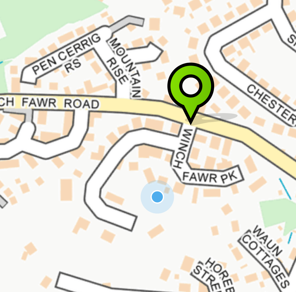 Marker showing user's location on FixMyStreet when viewed on a mobile browser