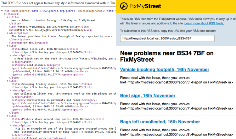 FixMyStreet RSS feeds before and after a design refresh